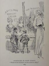 Children Theme BOND STREET - LADIES HAIR DRESSING SALOON Antique Punch Cartoon