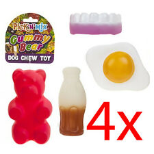 SET OF 4 DOG TOY CHEWY PUPPY PET ANIMAL FUN THROW TREAT FETCH SQUEAKY HEALTHY
