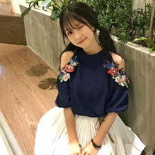 011 Korean Women's Fashion Floral Embroidery Off Shoulder Shirt Blouse Top Navy