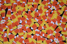 CANDY CORNS TOSSED ON BLACK JUNK FOOD HALLOWEEN 100% Cotton Fabric OOP HALF YARD