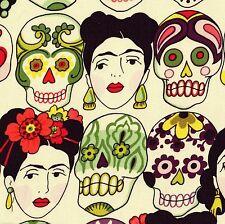 Alexander Henry GOTAS DE AMOR Fabric FQ Calaveras SKULL Mexican FRIDA KAHLO Bone
