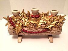Vtg Atlantic Mold Christmas Yule Log Candle Holder Centerpiece Ceramic Gold Red