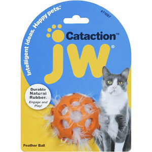Jw Pet Cataction Feather Ball -(Free Shipping in USA)