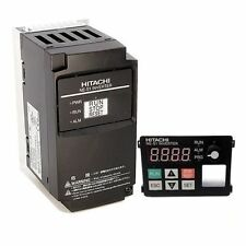 HITACHI NES1-007LB, 1 HP, 230 VAC, 3 PHASE INPUT, VFD, With OPERATOR