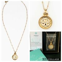 """My Saint My Hero Empower Seed of Life Gold Dipped Enamel Pendant Necklace 26""""NWT"""