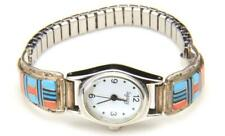 Vintage Zuni Sterling Silver Inlay Turquoise Onyx Mother Of Pearl Legacy Watch