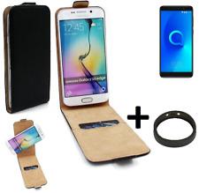 360° Case f. Alcatel 3X + Bumper Flip Case Universal black leatherette bag