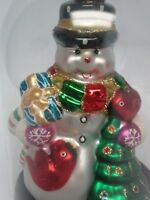 NIB Hand Crafted Mouth Blown Glass Snowman Christmas Ornament