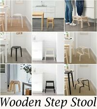 Wooden One Step Seat Stool Ladder Chair Table Bar Home Kitchen Birch Wood Beech