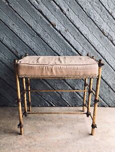 Beautiful! Italian Gilded Rope Accent Vanity Bench - Hollywood Regency Style