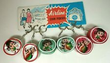 6 x Vintage Coin Purse Keychain keyring 1960s on Card - made in HONG KONG NOS