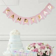 CANDY BAR Pink&Gold Letter Bunting Banner Sparkly Wedding Party Hanging Decor