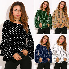 UK 8-24 ZANZEA Women Crewneck Polka Dot Ruffled Casual Loose Tops Shirt Blouse