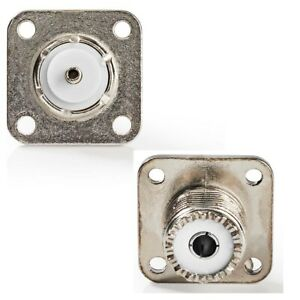 Pack of 2 - PL259 SO239 Female Chassis Panel Mount Socket with Solder Centre Pin