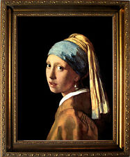 Girl with Pearl Earring Vermeer Art Print with Gold Frame