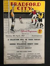 8.4.1957. Bradford City v Airdrieonians, (George Williamson Benefit).