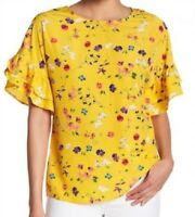 Pleione Top Blouse Double Ruffle Short Sleeve Crew Neck Yellow Floral Sm #7800