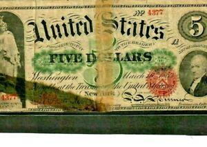 "$5 (1862) ""UNITED STATES NOTE""  FR-63b  (HORSE BLANKET) $5 1862 (FR-63b) RARE!!!"