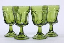 Four (4) Fairfield Pattern Avocado Green 5 Ounce Cocktail Juice Stems Goblets