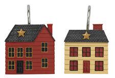 Primitive Country Rustic Farmhouse Salt Box House Shower Curtain Hooks Set Of 12