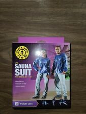 "NIB Gold's Gym L/XL Sauna Suit fits waists 36""-44"" Heavy Duty Vinyl Reflective"
