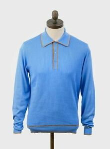 KNITTED POLO SHIRT ART GALLERY CLOTHINGSky Blue Medium Mod Sixties