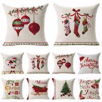 EG_ Christmas Linen Pillow Case Throw Waist Soft Cushion Cover Home Sofa Decor B