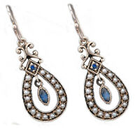 Genuine 9ct SOLID Gold NATURAL Sapphire & Pearl Drop EARRINGS Vintage charm