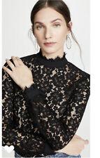 WAYF Berklin Lace Black Top Shirt Blouse Blogger Fave XS NWT