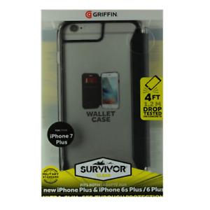 New Griffin Survivor Clear Wallet Flip Case iPhone 8+/7+/6s+/6+ Plus Clear/Black