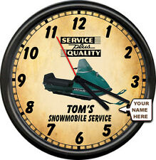 Personalized Snowmobile Racing Skiroule Retro Vintage Service Sign Wall Clock