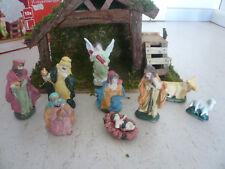Weihnachten Advent Deko Weihnachtskrippe Krippe mit Figuren 10-teiliges Set