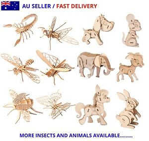 3D Wooden Jigsaw Puzzles Insects & Animals Model DIY Assembly Education Kids Toy