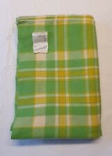 More details for vintage hampshire house pure wool lime green & yellow checked single blanket