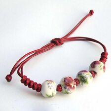 Paved Crystal Ceramic Balls Friendship Clay Bracelet For Women Girl Red Lucky B
