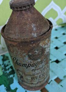 Champagne Velvet J-Spout Conetop Rare Cap Antique Beer Can Terre haute indiana