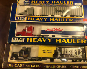 Lot of (3) K-Line Hershey's True Value Neiman Marcus Heavy Hauler Truck Trailer