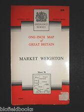 "Vintage Ordnance Survey 1"" Map - Market Weighton - 1967 - Sheet 98 - E Yorkshire"