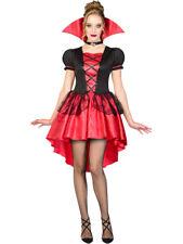 Ladies Red Glamorous Vamp Fancy Dress Costume Halloween Gothic Vampiress UK 6-24