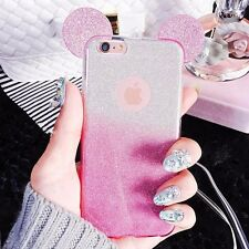 Glittery Disney Ears Mickey Minnie Mouse iPhone 6 6S Case Cover Strap UK