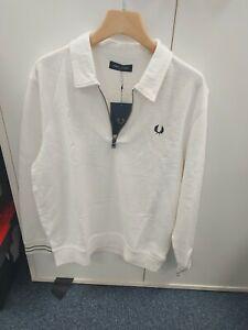 Fred Perry Zip Neck Collar Sweatshirt Size L