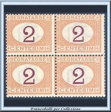 1870 Italia Regno Segnatasse Cifra cent. 2 Quartina n. 4 Nuovo Integro **
