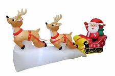 8 Foot Long Christmas LED Inflatable Santa Reindeer Sleigh Yard Party Decoration