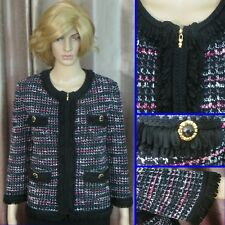 CHIC AND CLASSY! ST JOHN COLLECTION KNIT MULTI-COLOR JACKET SZ 12