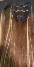 Long Brown w/ Blond Highlight Ponytail Hair Extension 5.6oz