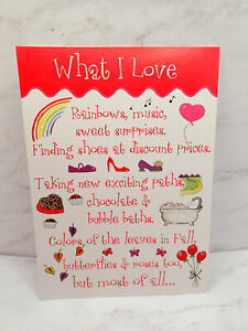 Happy Valentines Day Card THINGS I LOVE Shoes Chocolate FRIEND LIKE YOU RPG ❤