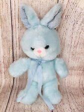 "Vintage Animal Fair Blue Bunny Rabbit White Polka Dot Ears Plush 11"""