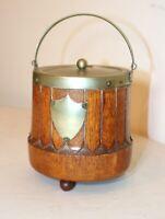 antique handmade English wood nickel-plate porcelain tobacco jar humidor box