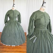 Green Cotton Xxl / Plus Civil War 1860s Reenacting Dress Costume Hoop Skirt