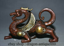 "8"" Old China Red Copper Gilt Silver Feng Shui Pixiu Dragon Beast Luck Statue"